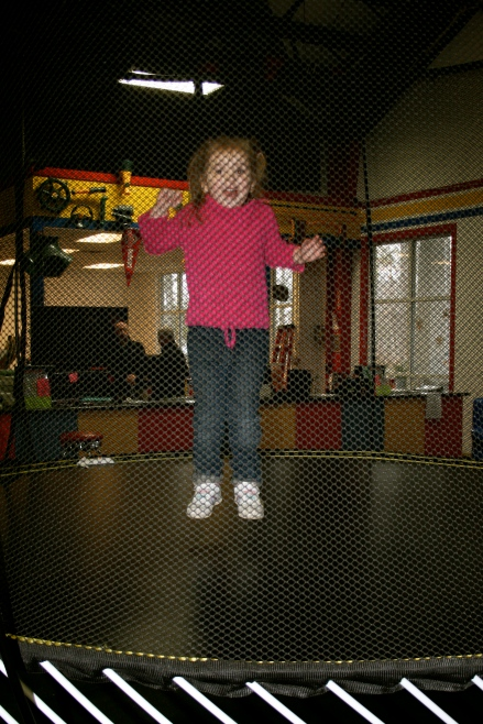 Cora LOVING the trampolines! Ben, not so crazy about them...maybe next time!